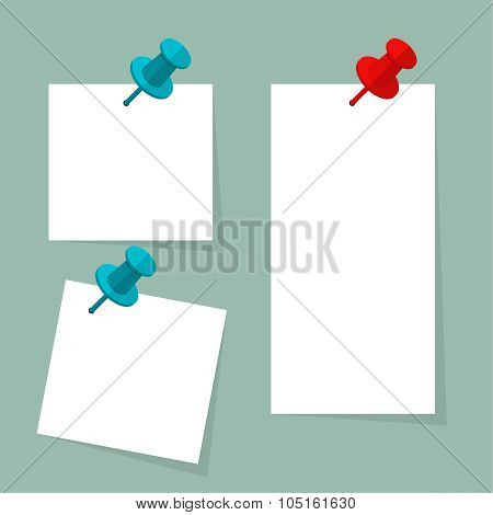 Blank paper note with push pin