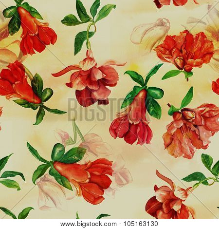 Seamless background pattern with fuchsia and pomegranate flowers, watercolour drawing, toned
