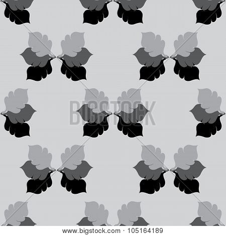 Seamless Floral Grayscale Pattern With Oak Leaves