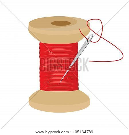 Red Thread Wooden Spool
