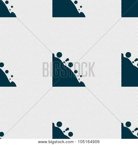 Rockfall Icon. Seamless Abstract Background With Geometric Shapes. Vector