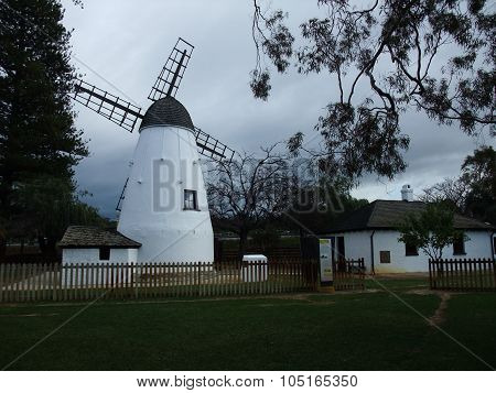 old white stone wind mill in Perth
