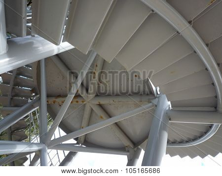 Metal staircase of DNA Tower