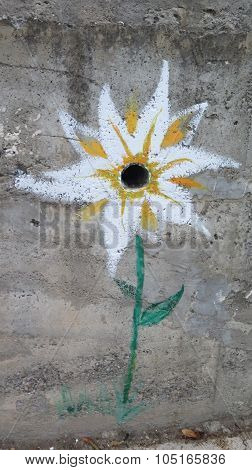Painted Flower On Concrete Wall