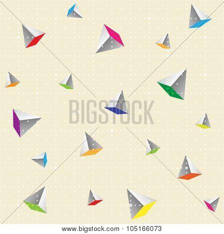 Geometric Seamless Pattern With dots and Pyramids.