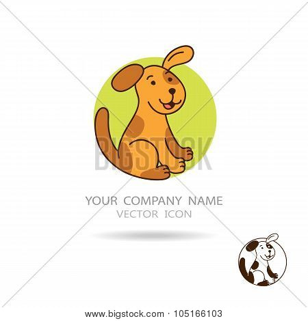 Vector Logo. Brown Dog Or Puppy With Circle Background.