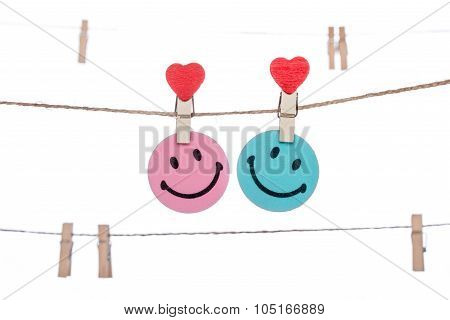 Heart  Shape Clip On A  Twine, Hanging Smiley Face Couple