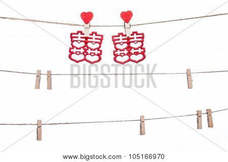 Clip On A  Twine , Hanging Chinese Wedding Auspicious Word, Congratulation