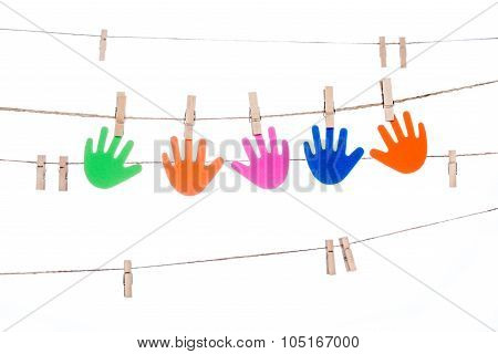 Clip On A  Twine , Hanging Colorful  Hand  Global  Multiracial Partnership