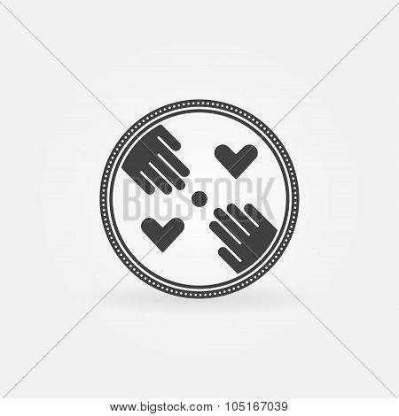 Flat hand made symbol