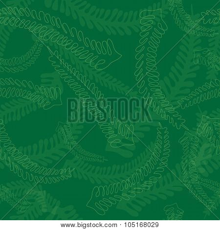 Seamless Fern Leaves Pattern In Green Colors
