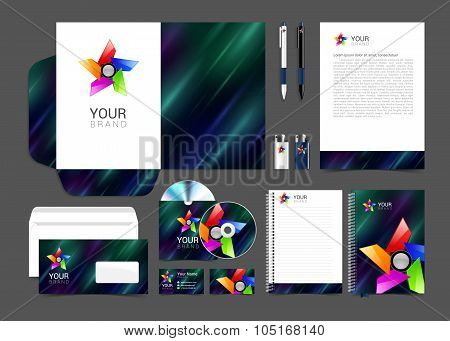 Professional corporate identity kit business artistic abstract effect