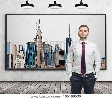 A Handsome Man In Formal Clothes Stands In Front Of The Picture Of New York City On The Wall. Wooden