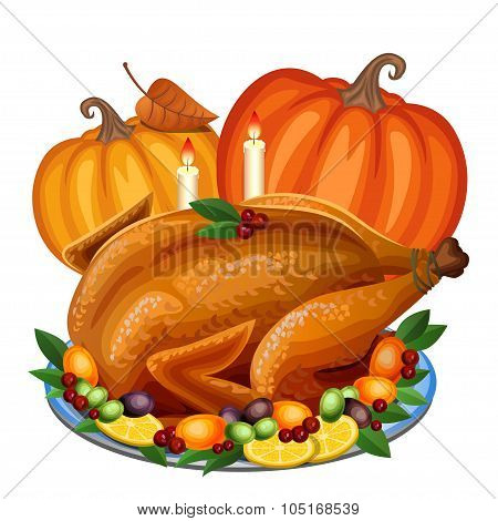 Thanksgiving Turkey On Platter With Garnish And Orange Pumpkin, Roast Turkey Dinner. Vector