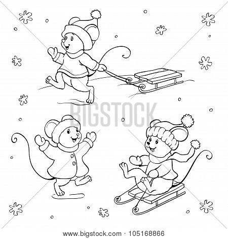 Coloring Book Or Page. Vector Mouse Set.