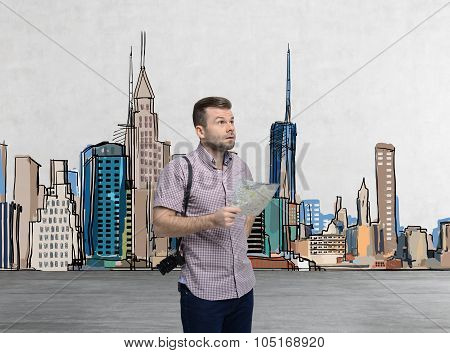 A Handsome Tourist In Casual Clothes Is Trying To Find The Best Tourist Place. New York Sketch On Th