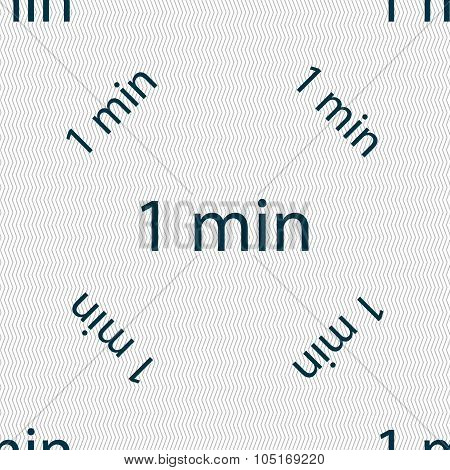 One Minutes Sign Icon. Seamless Pattern With Geometric Texture. Vector