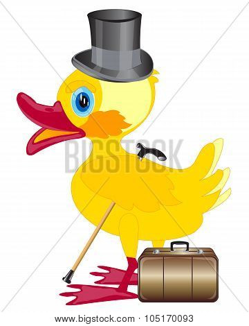 Duckling with cylinder on head and valise