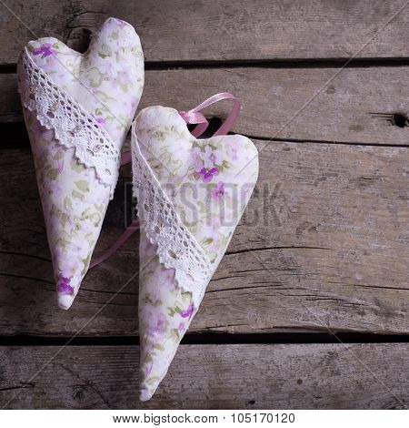 Decorative Hearts On  Vintage Wooden  Background.
