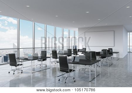 Corporate Workplaces Equipped By Modern Laptops In A Modern Panoramic Office In New York City. Black