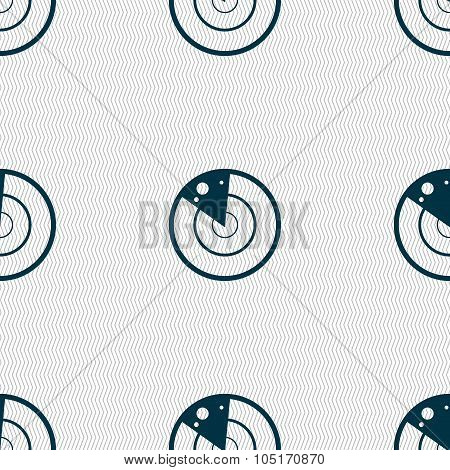Radar Icon Sign. Seamless Abstract Background With Geometric Shapes. Vector