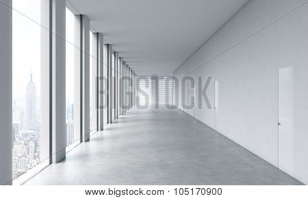 Empty Modern Bright Clean Interior Of An Open Space Office. Huge Panoramic Windows With New York Vie