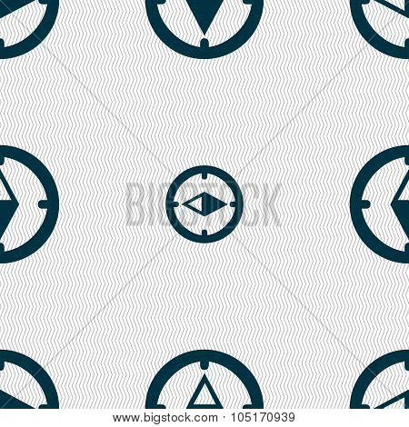 Compass Sign Icon. Windrose Navigation Symbol. Seamless Abstract Background With Geometric Shapes. V