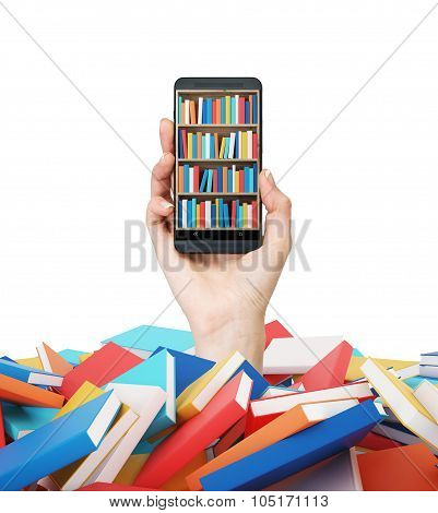 A Hand Holds A Smartphone With A Book Shelf On The Screen. A Heap Of Colourful Books. A Concept Of E