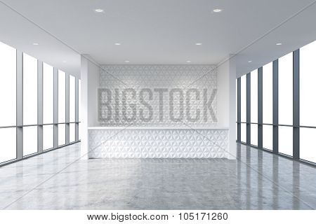 A Reception Area In A Modern Bright Clean Office Interior. Huge Panoramic Windows With White Copy Sp