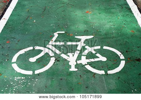 Bicycle Sign On The Road, Bike Lane