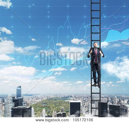 A Businessman In A Ladder Is Climbing Up To The Success In His Career In Finance. Flowcharts Are Ove