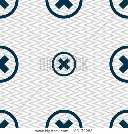 Cancel Icon. No Sign. Seamless Abstract Background With Geometric Shapes. Vector