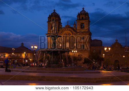 Main Square With Church By Night In Cusco, Peru