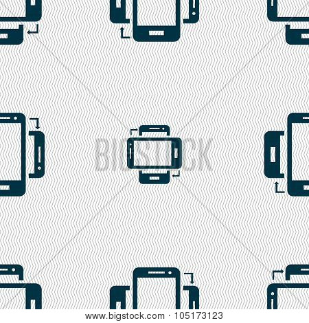Synchronization Sign Icon. Smartphones Sync Symbol. Data Exchange. Seamless Abstract Background With