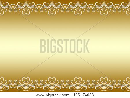 Golden Background Seamless Border With Swirly Pattern