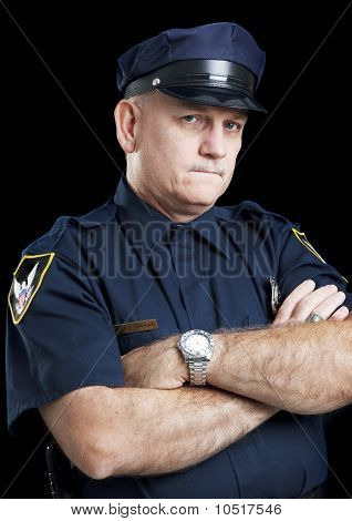 Policeman On Black - Arms Folded
