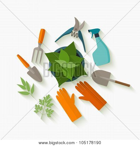 Flat design tools for gardening and plant care.