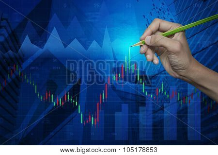 Hand Pointing Pencil On Stock Analysis Graph Over Map And City, Elements Of This Image Furnished By