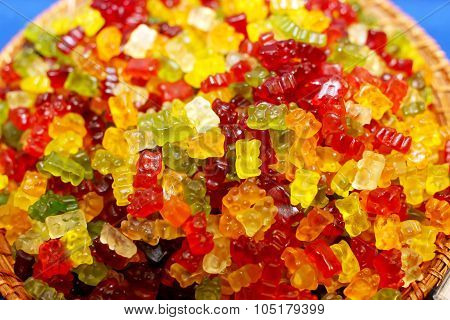 Close Up Of Colorful Gummy  Bears Candies