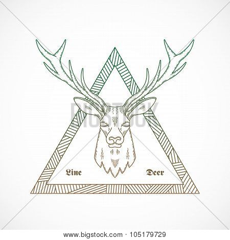 Line Style Abstract Vector Deer Face Illustration Bordered in a Triangle with Tribal Pattern.