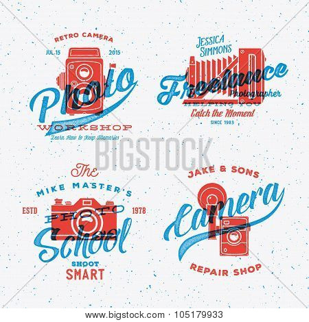 Retro Camera Photography Vector Labels or Logos with Vintage Typography. Shabby Textures.