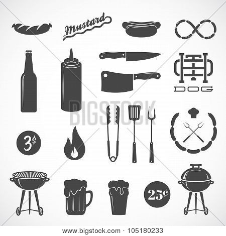Sausage Vector Flat Icons and Design Elements Such as Grill, Knife, Fire, Beer, etc. Isolated
