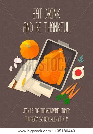 Flat design invitation card for Thanksgiving dinner.