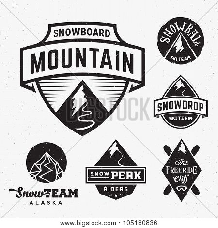 Set of Ski Snowboard Snow Mountains Sport Logos or Vintage Labels, with Shabby Texture. Isolated
