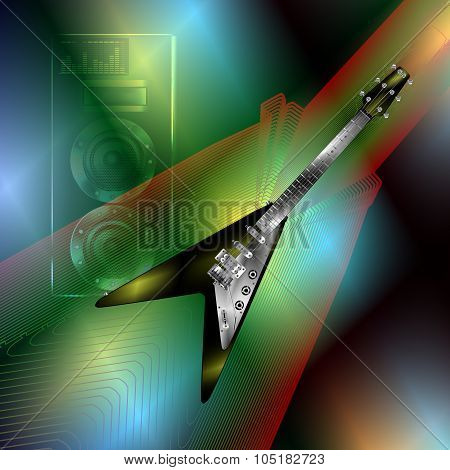 Musical Background With A Rock Guitar And A Speaker 2