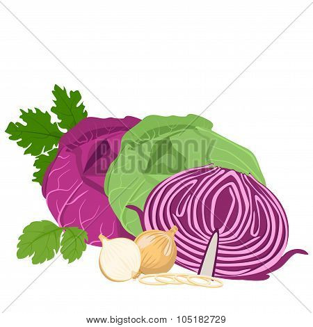 Cabbage and onions