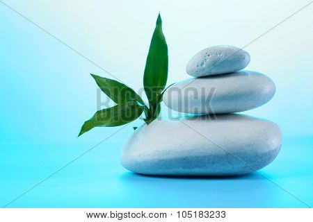 Spa stones and eaves on blue background