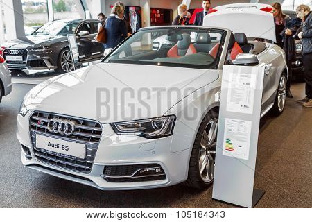 Baden-Baden, Germany - October 10, 2015: New models of the brand Audi in a dealer's showroom in Baden-Baden, Germany. Audi S5 Cabriolet