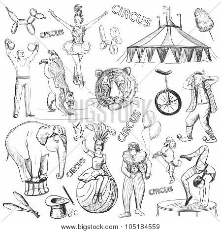 Circus performance decorative icons set