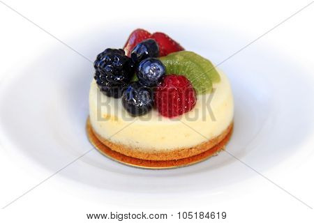 Pann Cotta Sweet Dessert With Fresh Fruits